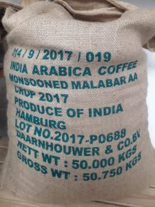 A sack of Monsooned Malabar coffee beans