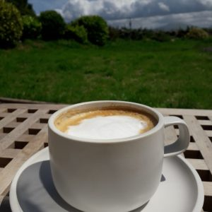 A cup of cappuccino against a countryside background